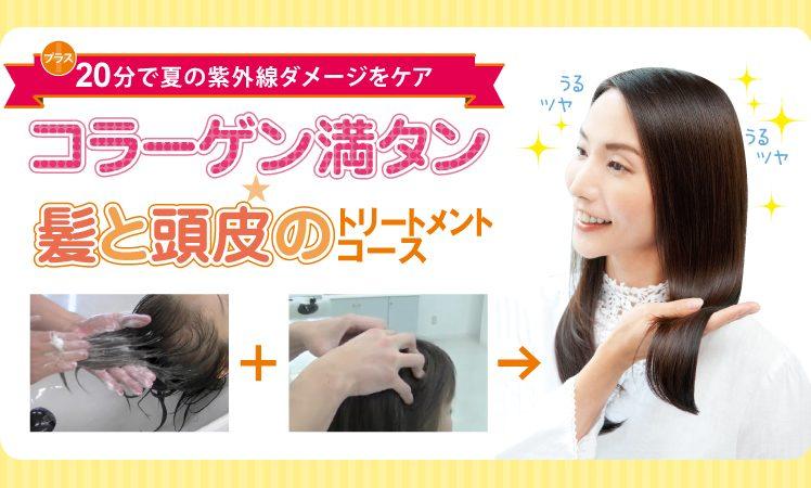 【紫外線ダメージ解消】コラーゲン満タン☆髪と頭皮のトリートメントコース